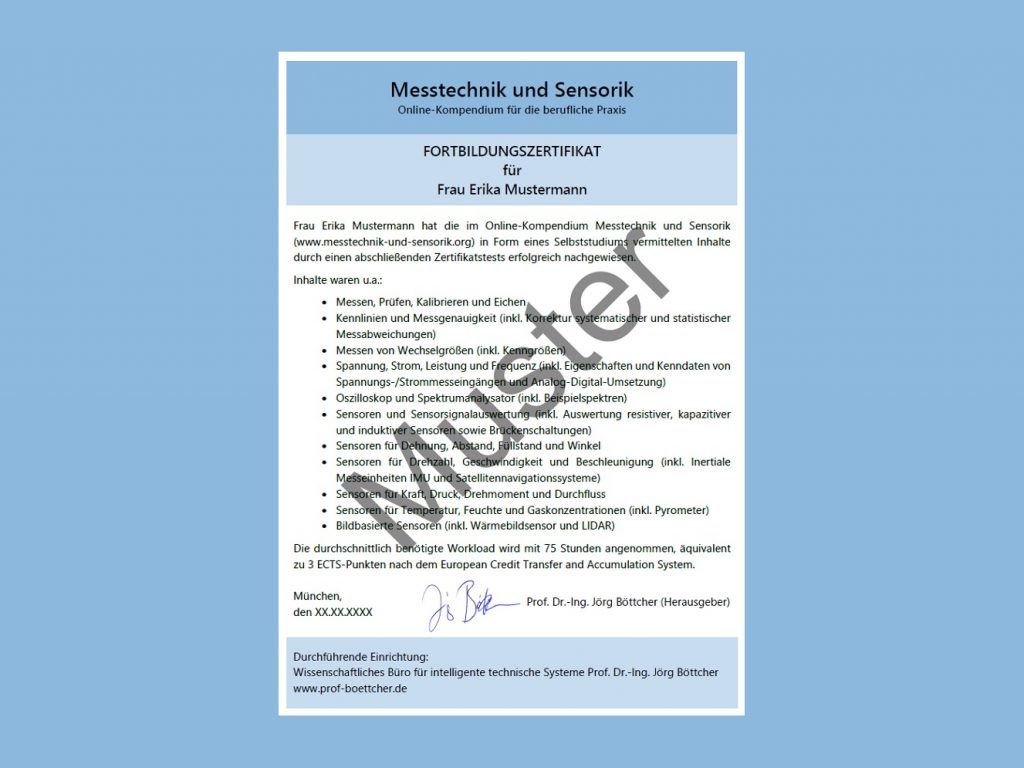 Fortbildungszertifikat Messtechnik und Sensorik